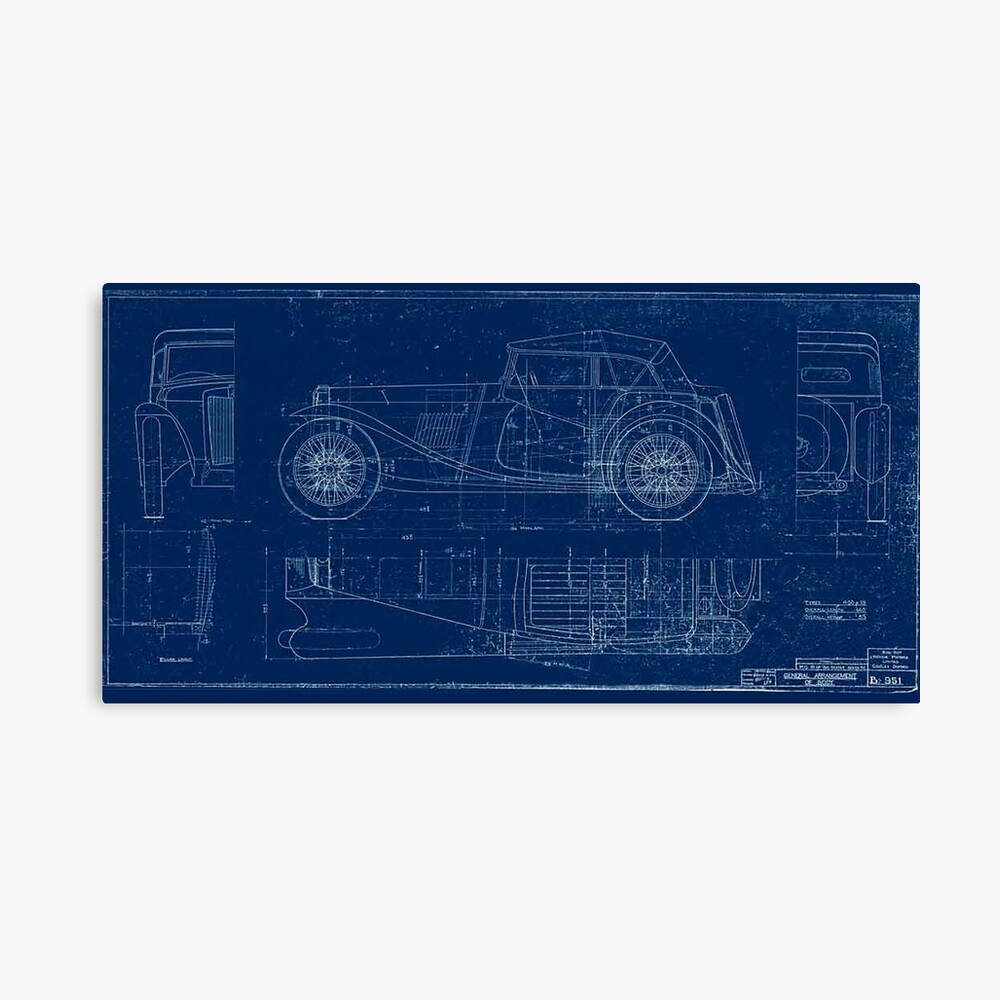 MG TC Blueprint Diagram Canvas Print