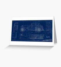 MG TC Blueprint Diagram Greeting Card