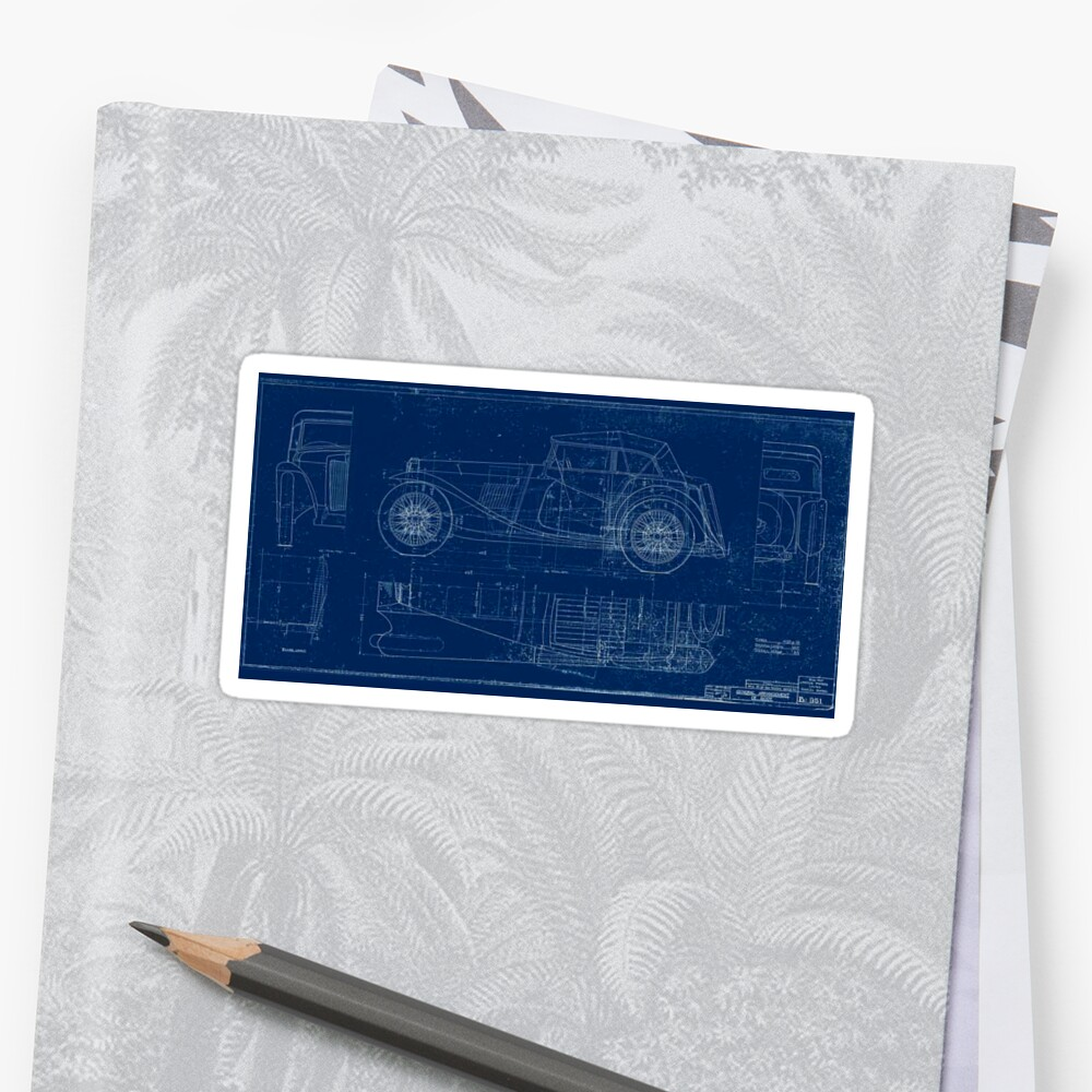 MG TC Blueprint Diagram Sticker
