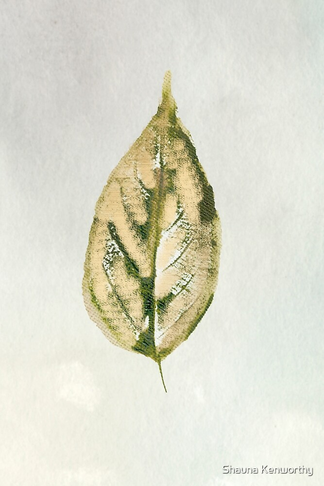 Golden watercolor leaf on cream and green background by Shauna Kenworthy