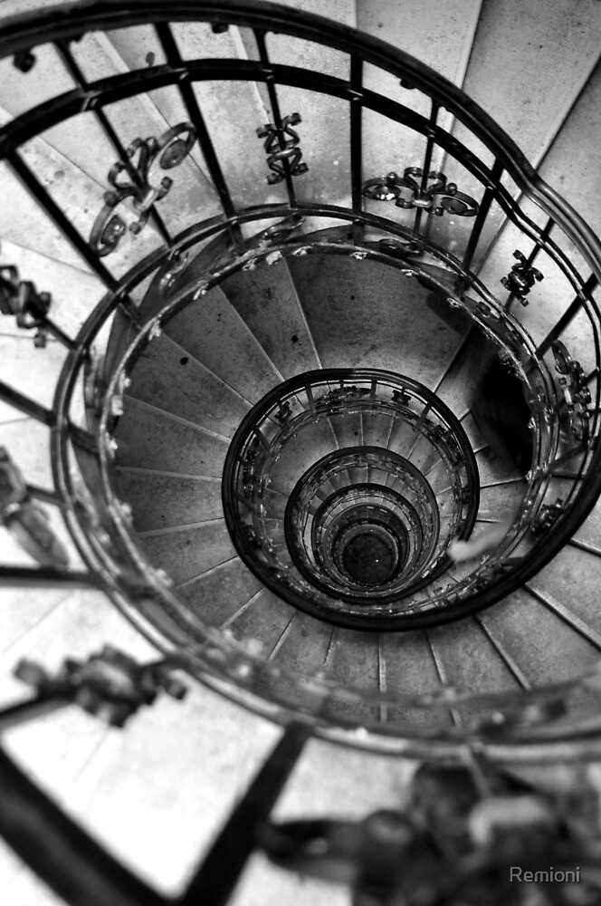 Black and white photography. Vintage spiral staircase. Old house photo. Architecture  by Remioni