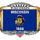 Wisconsin Art Deco Design with Flag by Cleave