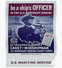 Vintage poster - Be a Ship's Officer Poster