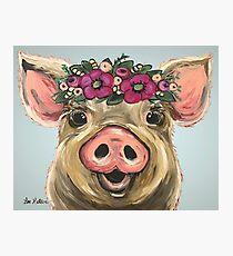 Pig Art, Farmhouse Pig Art Photographic Print