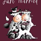 Just Married Cow Wedding Cartoon by modartis