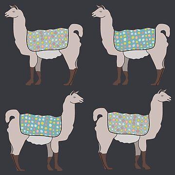 Llamas in Lines by critterandposie