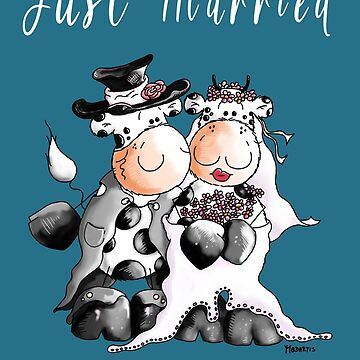 Just Married Cow Wedding Cartoon by modartis