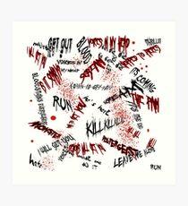 Halloween Scribblings Blood Splatter version Art Print