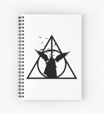 HP Hallows - The tale of 3 brothers (another version) with bats - wand, cloak, stone Spiral Notebook