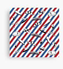 Barber Shop Pattern Canvas Print