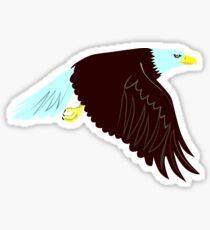 Bald Eagle Flying Wings Down Retro Sticker