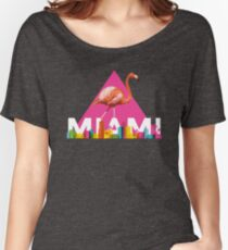 Miami City Skyline Flamingo Design Women's Relaxed Fit T-Shirt