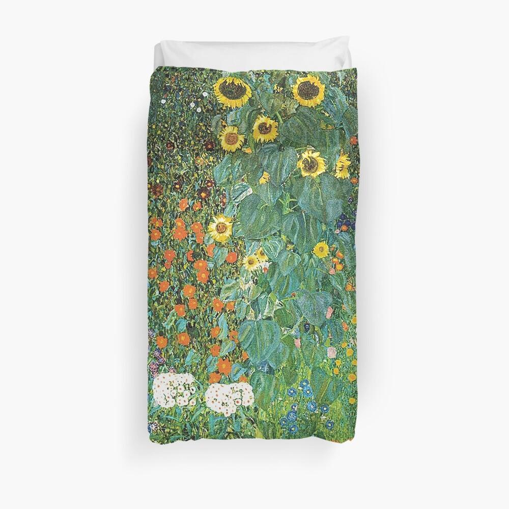 HD Country Garden mit Sonnenblumen, von Gustav Klimt 1905-06 HIGH DEFINITION Bettbezug
