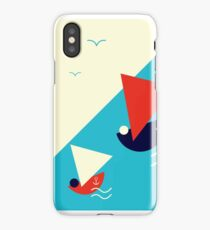 Suprematism styled nautical illustration: summer sail boat racing iPhone Case