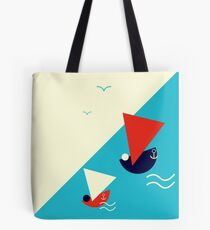 Suprematism styled nautical illustration: summer sail boat racing Tote Bag