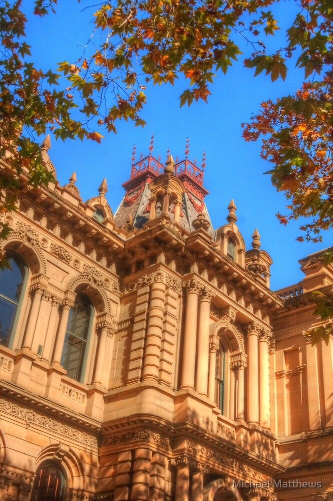 Town Hall framed by autumn leaves by Michael Matthews