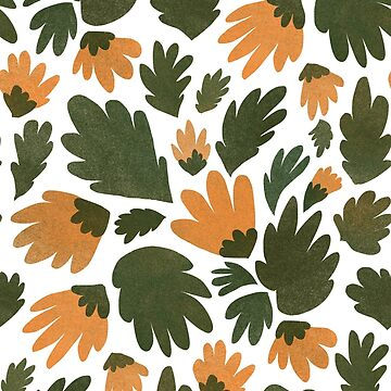 Textured calendula floral print by DariaNK