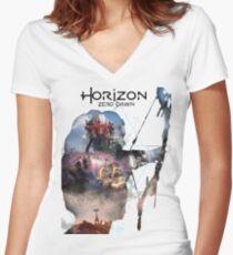 Horizont Tailliertes T-Shirt mit V-Ausschnitt