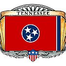 Tennessee Art Deco Design with Flag by Cleave
