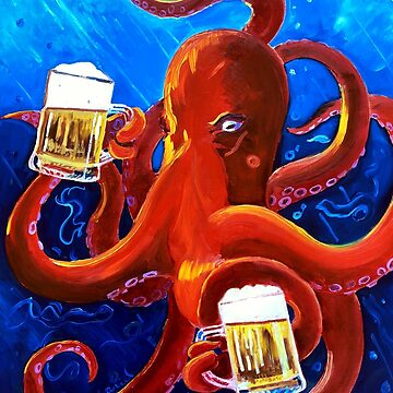Octopus Painting, Red Octopus Drinking Beer, Animals and Beer, Octopus Art, Dining Room Painting, Funny Beer Poster, Man Cave Bar Beer Decor by realartisbetter