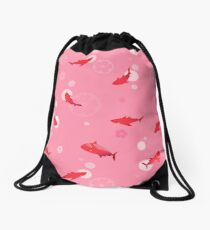 Sakura Shark Drawstring Bag