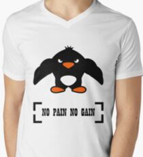 t-shirt shirt no pain no gain penguin woman and men Men's V-Neck T-Shirt