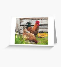 Chicken and Rooster  Greeting Card