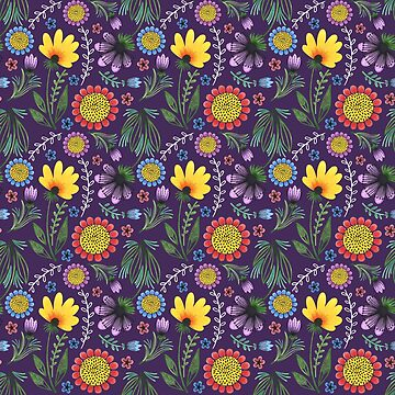 Folksy Flowers (Purple) by christinadesign