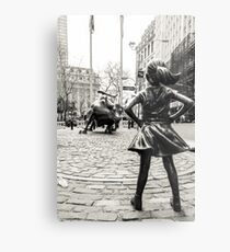Lienzo metálico Fearless Girl & Bull NYC