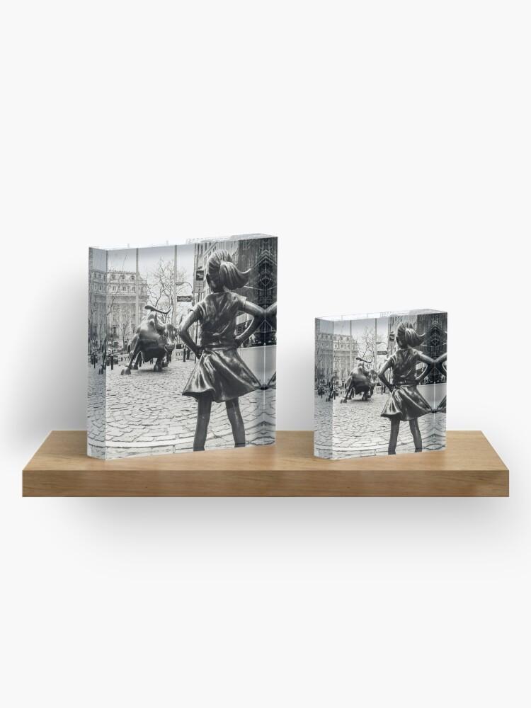 Alternate view of Fearless Girl & Bull NYC Acrylic Block