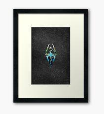 Skyrim Logo - Forest Scene Embossed in Granite Framed Print