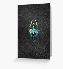 Skyrim Logo - Forest Scene Embossed in Granite Greeting Card
