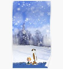 Calvin and Hobbes Winter Christmas Poster