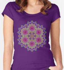 Psychedelic Large Print Mandala Women's Fitted Scoop T-Shirt