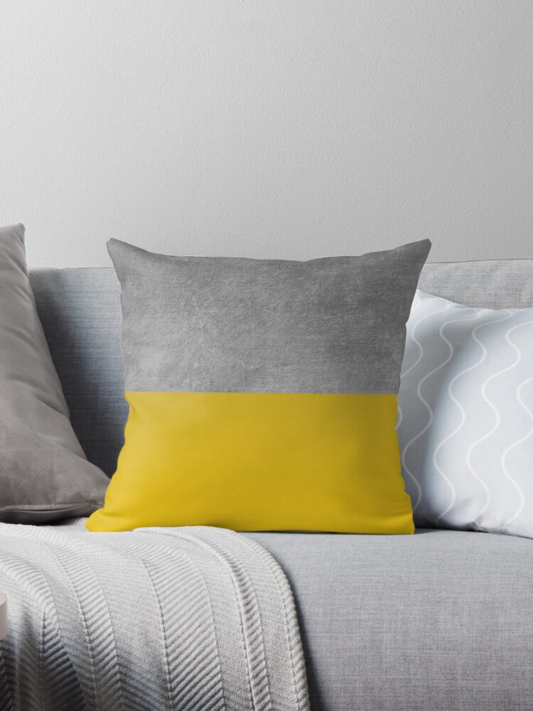 Quot Concrete And Mustard Color Block Quot Throw Pillow By Modoki