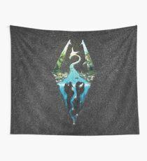 Skyrim Logo - Forest Scene Embossed in Granite Wall Tapestry