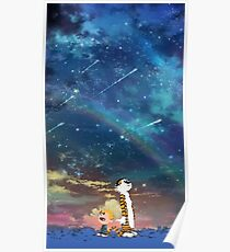 Calvin and Hobbes Starry Night Rainbow Poster