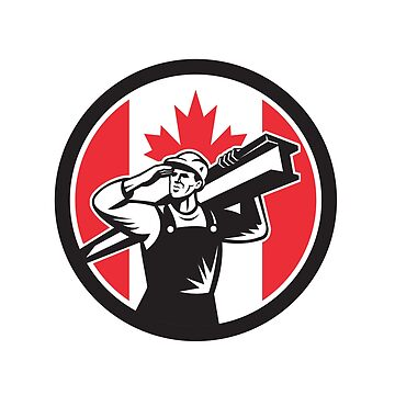 Canadian Construction Worker Canada Flag Icon by patrimonio