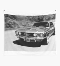 1967 Ford Mustang B/W  Wall Tapestry