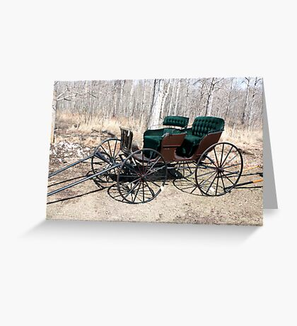 """""""Are You Ready Yet?* Four  Passenger  Pleasure  Buggy  With Velvet Seats Greeting Card"""