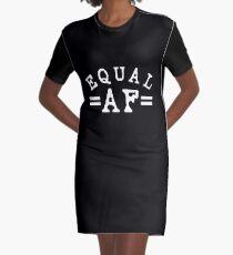 EQUAL AF white Graphic T-Shirt Dress