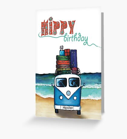 Hippy birthday card Greeting Card