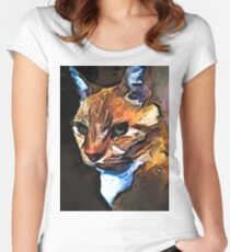 The Gold Cat with the Stage Presence Women's Fitted Scoop T-Shirt