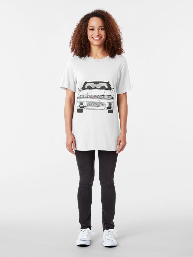 Alternative Ansicht von Nissan Skyline R33 GT-R (front) V2.0 Slim Fit T-Shirt