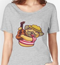 Lovely pug playing guitar  Women's Relaxed Fit T-Shirt
