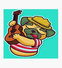 Lovely pug playing guitar  Photographic Print