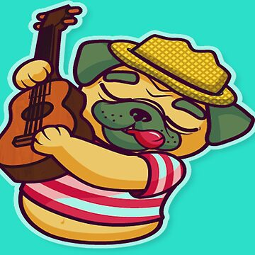 Lovely pug playing guitar  by aymeenshop