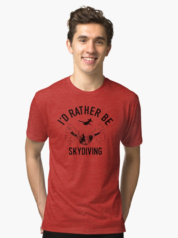 Time is Precious Skydiving T-Shirt - Cool Funny Nerdy Comic Graphic Skydiver Skydiving Humor Quote Sayings Statement Shirt Gift Gift Idea Tri-blend T-Shirt Front