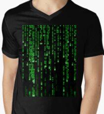 Matrix Binary Code Men's V-Neck T-Shirt