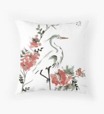Oriental Crane Throw Pillow